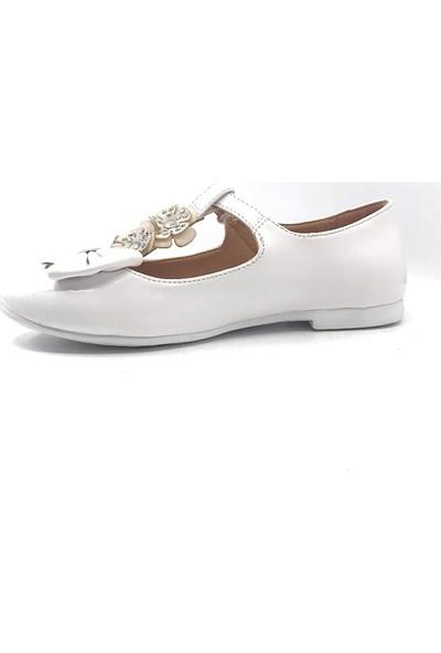 Vetta Beyaz Günlük Fiyonklu Kız Çocuk Babet Ayakkabı