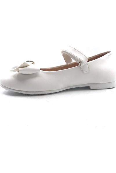 Vetta Beyaz Tokalı Kemerli Taşlı Kız Çocuk Babet Ayakkabı