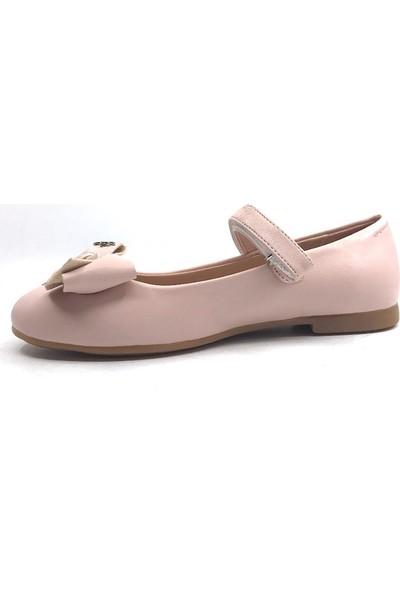 Vetta Pudratokalı Kemerli Taşlı Kız Çocuk Babet Ayakkabı