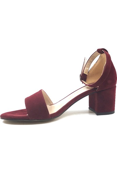 Gizsah Bordo Tekbant Süet Alçak Topuklu Kadın Ayakkabı