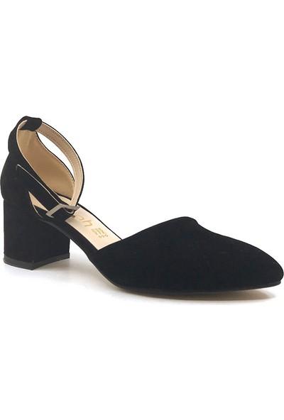 Gizsah Siyah Karnıyarık Topuklu Süet Kadın Günlük Ayakkabı