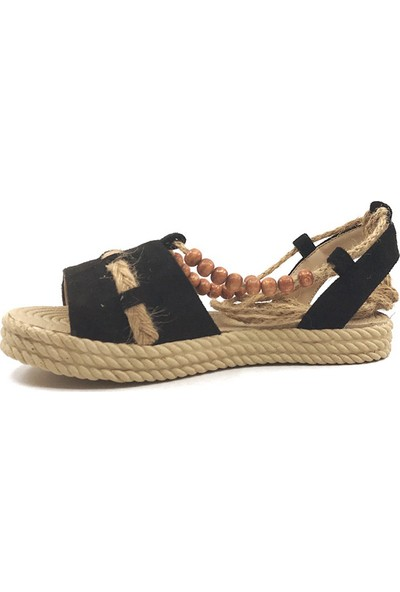 Keçeli 03 Boncuklu Siyah Günlük Kadın Sandalet