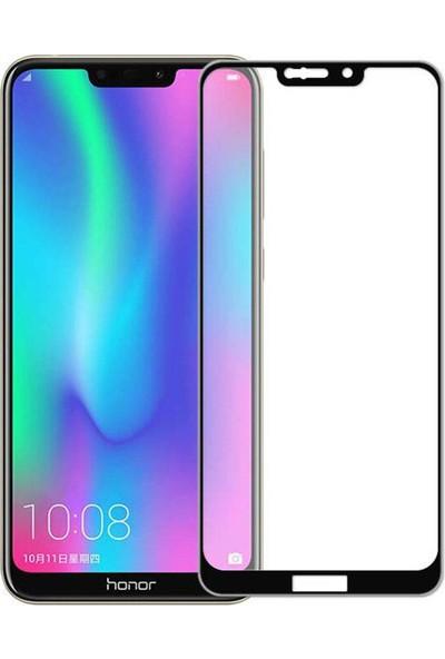 Microcase Huawei Honor 8c Tam Kaplayan Çerçeveli Tempered Ekran Koruyucu - Siyah