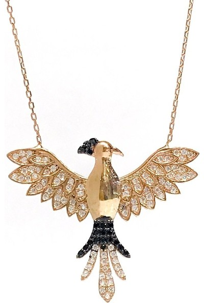 MaGümüş Yeni Tasarım Rosegold Anka Kuşu Gümüş Kolye
