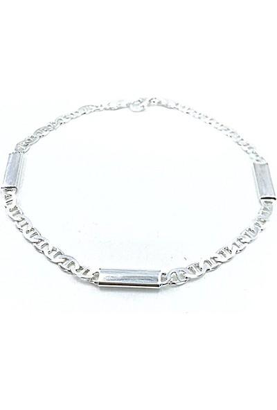 MaGümüş 3 mm İçi Dolu Zarif Şık Gündelik Gümüş Erkek Bileklik