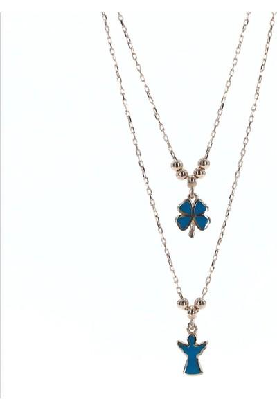 MaGümüş Pandora Tarzı İkili Çoklu Uzun Zincir Angel Yonca Gümüş Kolye