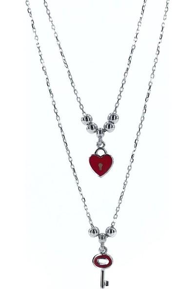 MaGümüş Pandora Tarzı İkili Çoklu Uzun Zincir Kalp Anahtar Gümüş Kolye