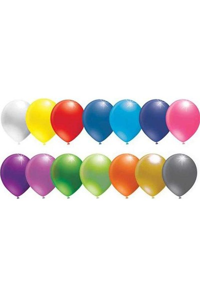 Kullan At Market Balon Düz 10 İnc Karışık Renkli Pakette 100 Adet