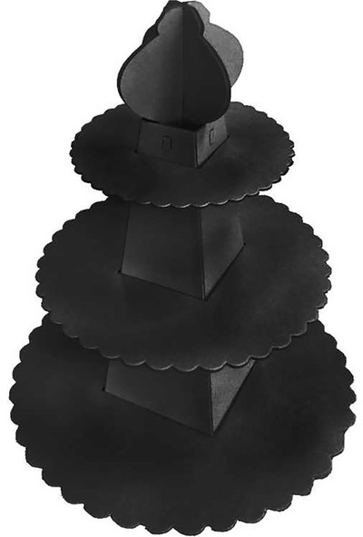 Kullan At Market Cup Cake Standı Piramit Modeli Düz Renk Siyah Pakette 1 Adet