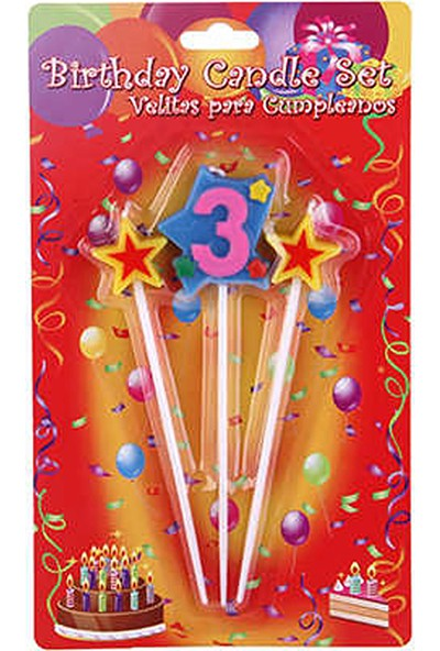 Kullan At Market Doğum Günü Mumu 3 Yaş Yıldızlı Pakette 3 Adet