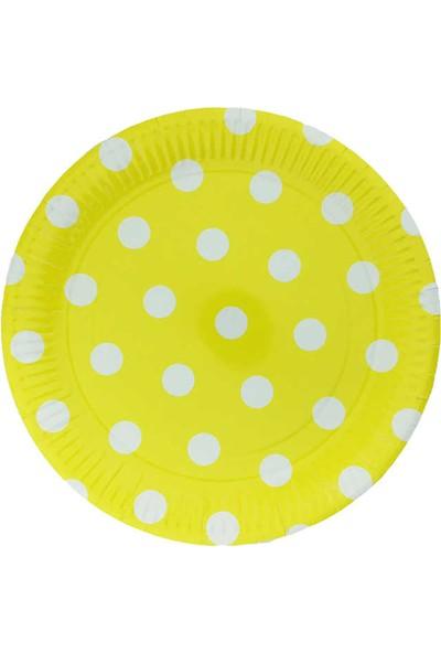 Kullan At Market Tabak Karton Sarı Puantiyeli 23 cm 4 Pakette 8 Adet