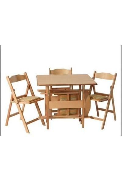 Harman Mobilya Kırma Katlanır Masa Katlanır 4 Sandalyeli Takımı 90 x 90 cm