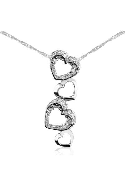 Tesbihayal Gümüş Kalpler Bayan Kolye