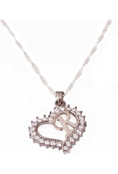 Tesbihayal Gümüş R Harfi Kalpli Bayan Kolye