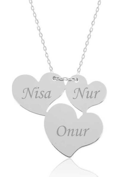 Tesbihayal Gümüş Üç Kalp İsimli Bayan Kolye
