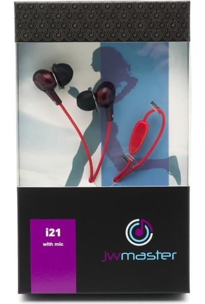 Jwmaster İ21M Mikrofonlu Kulak İçi Kulaklık Kırmızı