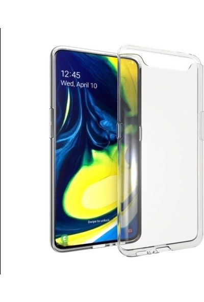 KNY Samsung Galaxy A80 Kılıf Ultra İnce Şeffaf Silikon + Cam Ekran Koruyucu