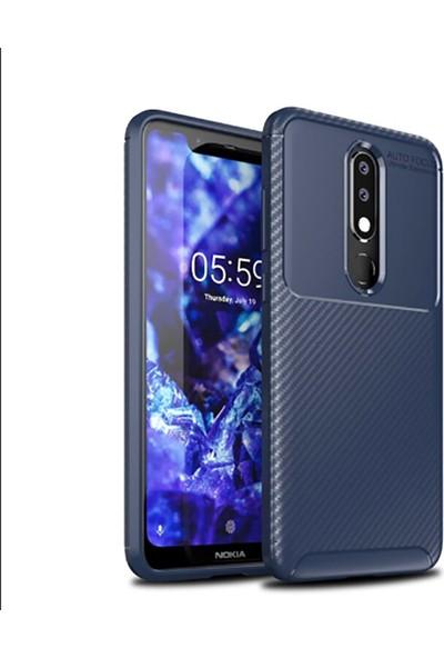 Happyshop Nokia 5.1 Plus Kılıf Karbon Desenlı Lux Negro Silikon + Cam Ekran Koruyucu