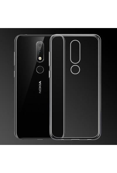 Happyshop Nokia 5.1 Plus Kılıf Ultra İnce Şeffaf Silikon + Cam Ekran Koruyucu