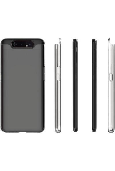 Happyshop Samsung Galaxy A80 Kılıf Ultra İnce Şeffaf Silikon + Nano Cam Ekran Koruyucu