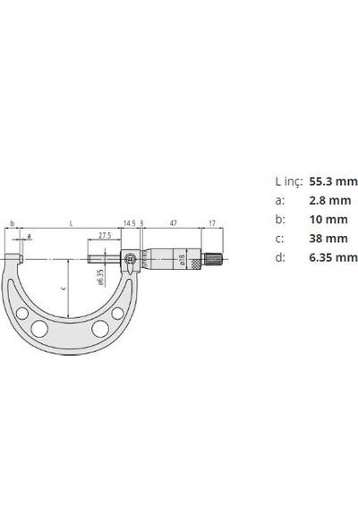 Mi̇tutoyo Dış Çap Mikrometresi 103-138 25-50 mm