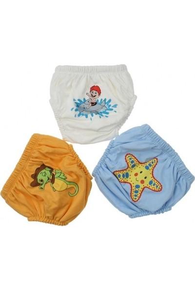 Story Baby Erkek Bebek Sevimli 3'Lü Alıştırma Külodu (Mavi) Sarı Deniz Yıldızlı