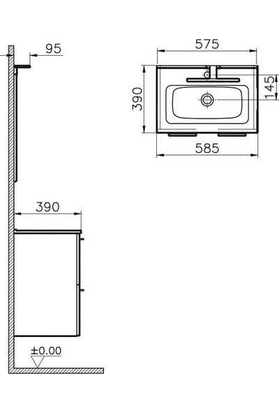 Vi̇tra Mi̇a 60 cm 2 Çekmeceli̇ Parlak Beyaz Banyo Dolabı