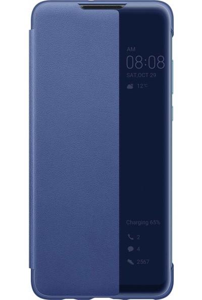 Huawei P30 Lite Smart View Flip Cover Kılıf - Mavi