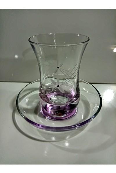 Paşabahçe 12 Parça Li̇la El Dekor Çay Seti̇