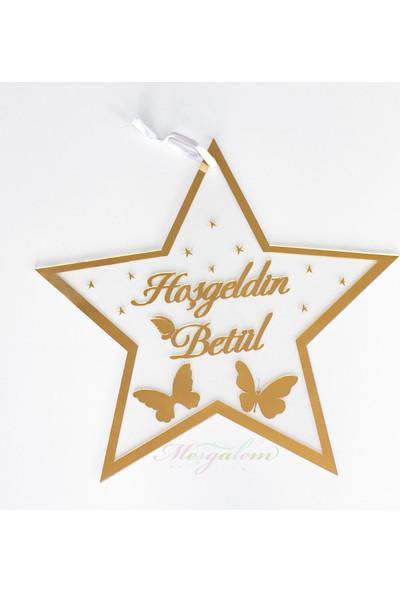 Meşgalem Pleksi Kapı Süsü İsimlik Yıldızlı Kelebekli ( Söz, Nişan, Düğün, Yeni Doğum)