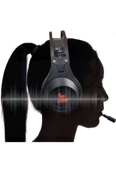 Rampage Lunatic 7.1 Surround Metal Ultra Kırmızı LED Siyah Profesyonel Oyuncu Kulaklığı + Gaming Mouse Pad