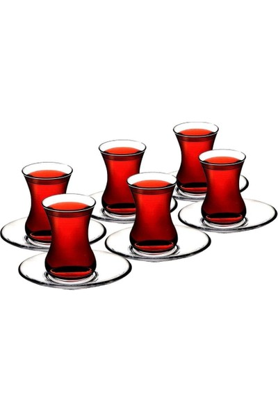 Paşabahçe Ege 6 Li Çay Bardak-Tabak Seti̇ 12 Parça
