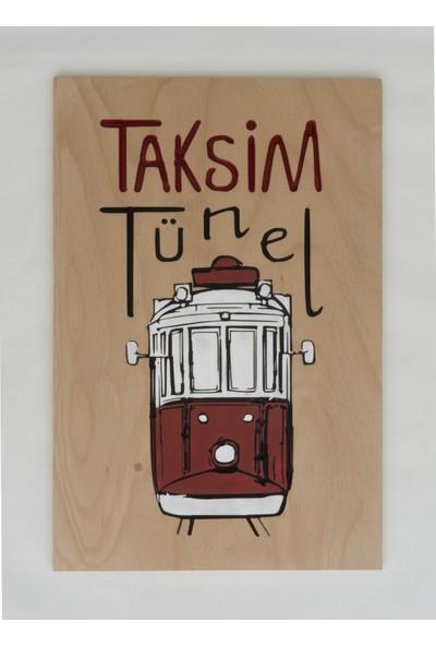 Donnames Taksim Temalı Ahşap Tablo