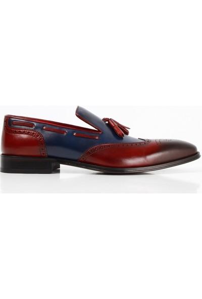 Bruno Shoes 185101K Bordo Lacivert Erkek Deri Kösele Taban Ayakkabı
