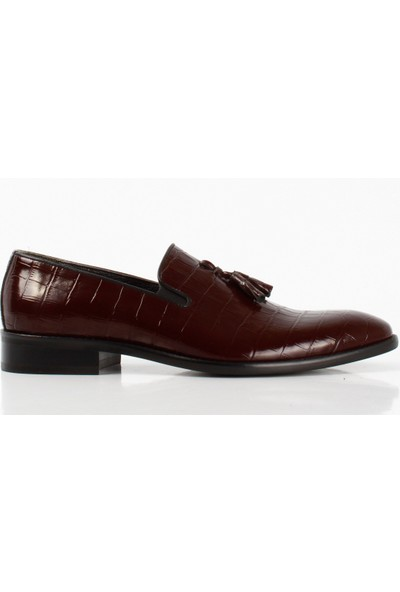 Bruno Shoes 130M Bordo Kroko Deri Microlight Taban Ayakkabı