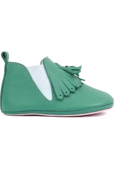 Sail Laker's Petrol Yeşili Deri Püsküllü Bebek Ayakkabısı