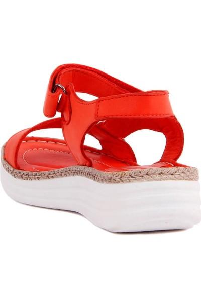 Sail Laker's Kırmızı Deri Kadın Sandalet