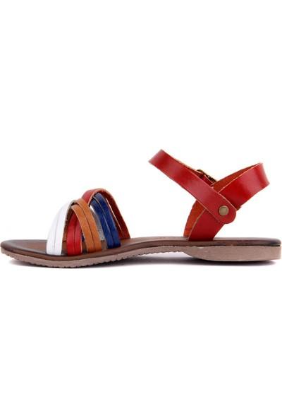 Sail Laker's Çok Renkli Deri Kadın Sandalet