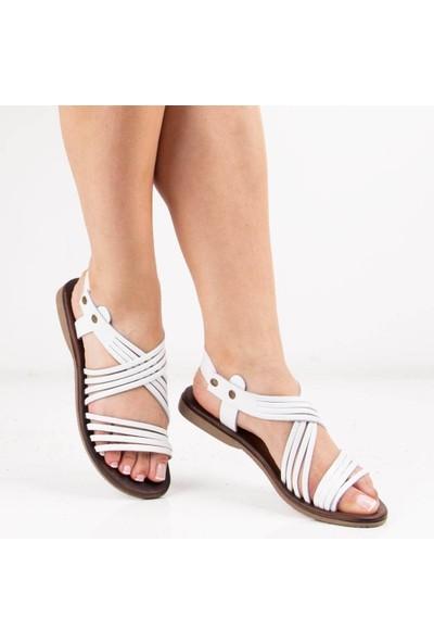 Sail Laker's Beyaz Deri Kadın Sandalet
