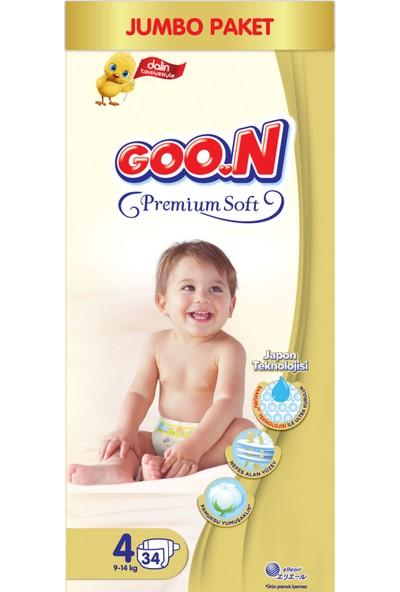 Goon Premium Soft Bebek Bezi 4 Beden Jumbo Paket 34 Adet