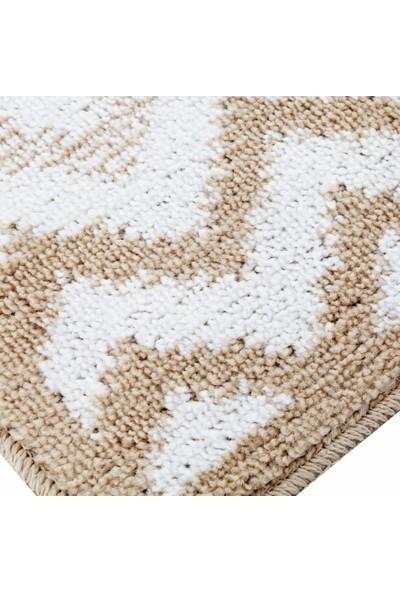 White & Begie İles Banyo Paspası 40 x 60 cm-Bej/Beyaz