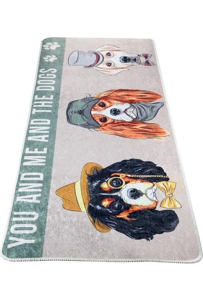 White & Begie Puppies Baskılı Paspas 125 x 50 cm