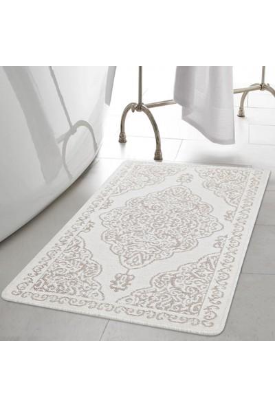White & Begie Acacıa İkili Banyo Paspası Seti 60 x 100+60 x 50-Krem/Altın
