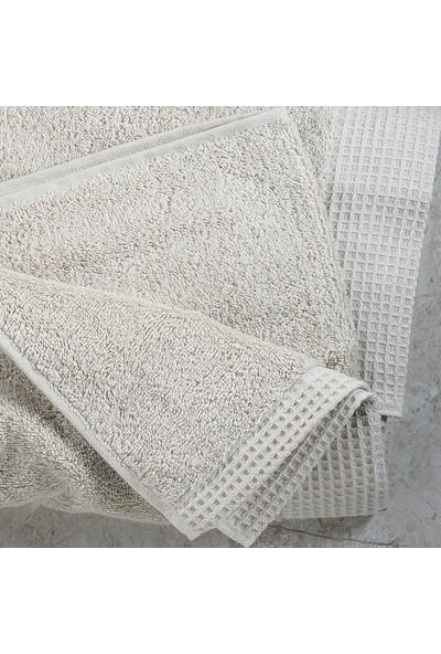 White & Begie Elegant Havlu 70 x 140 cm - Bej