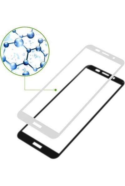 Microsonic Huawei Y5 2018 Tam Kaplayan Temperli Cam Ekran Koruyucu Beyaz