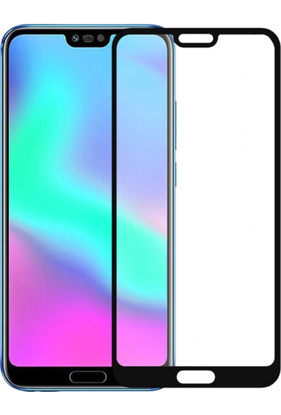 Microsonic Huawei Honor 10 Tam Kaplayan Temperli Cam Ekran Koruyucu Siyah
