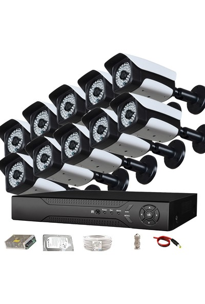 QROMAX PRO2048 10'lu 3 MegaPiksel SONY LENS 1080P Aptina Sensör Metal Kasa Güvenlik Kamerası Seti