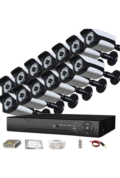 QROMAX PRO2048 13'lü 3 MegaPiksel SONY LENS 1080P Aptina Sensör Metal Kasa Güvenlik Kamerası Seti