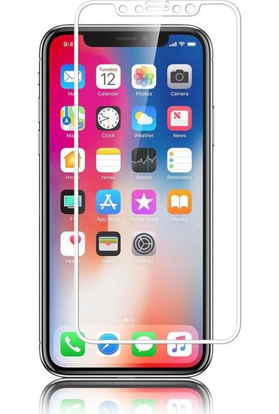 Kılıfreyonum Apple iPhone X Kavisli 5D Koruyucu Cam Beyaz