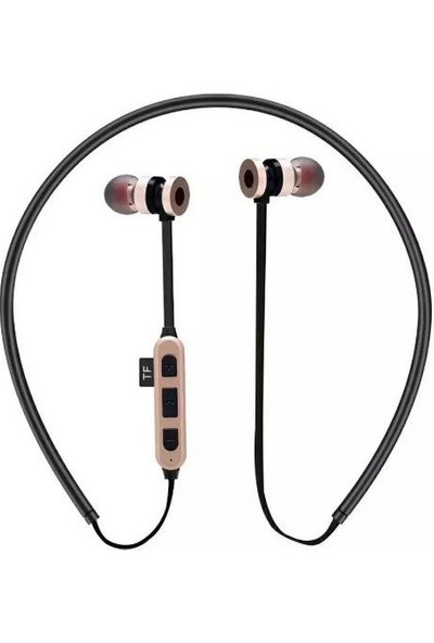 Mıknatıs Hafıza Kart Girişli Bluetooth Wireless Kulaklık Gold
